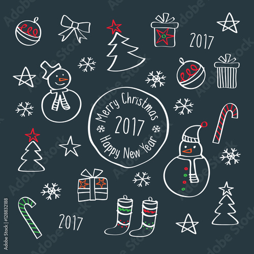happy new year 2017 merry christmas template for greeting