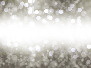 White silver light bokeh background with copy space, illustration.
