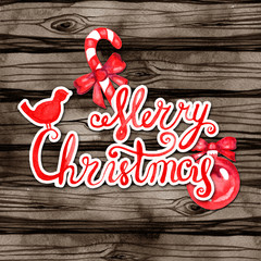Merry Christmas and Happy New Year greeting card. Watercolor Xmas lettering on wood background.