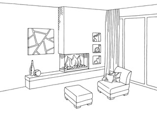 Fireplace living room interior graphic art black white sketch illustration vector
