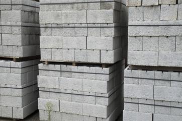 Several pallets of concrete blocks closeup