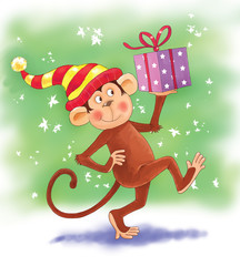 Christmas card. A cute funny monkey