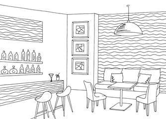 Cafe bar interior graphic art black white sketch illustration vector
