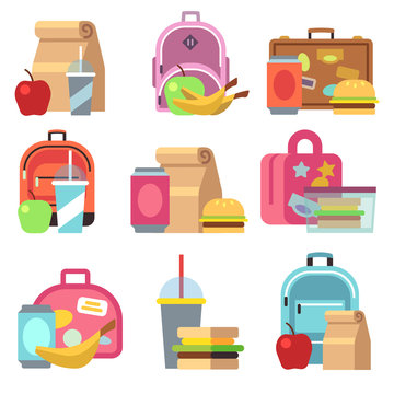 School lunch food boxes and kids bags vector flat icons