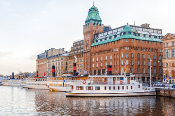 quay with ships in Stockholm