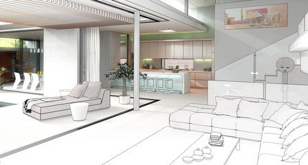 Modern House Interior (drawing)