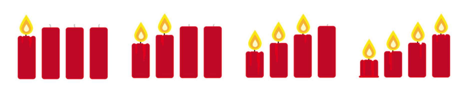 brennende Kerzen - erster, zweiter, dritter und vierter Advent, rot