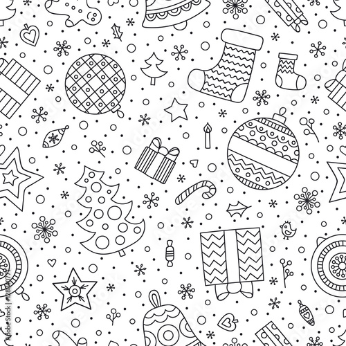 christmas elements vector seamless pattern with winter holiday objects christmas tree sock