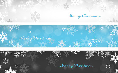 Set of three colorful Christmas background banners with snowflak