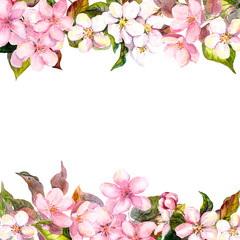 Retro pink flowers - apple, cherry blossom. Floral frame for greeting card. Aquarelle