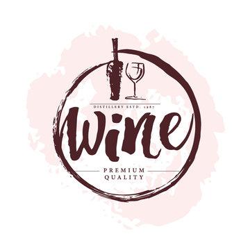 Vector artistic hand drawn wine logo