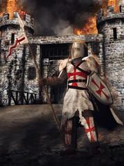 Średniowieczny templariusz stojący na tle płonącego zamku