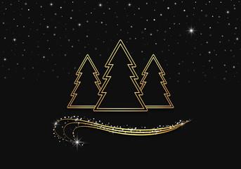 golden trees & curls, night sky with sparkling stars & snow - vector illustration