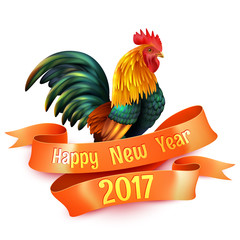 Rooster New Year Colorful Glossy Symbol