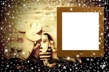Christmas photo frame card Santa and reindeer.