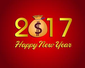 Happy New Year 2017 with dollar money