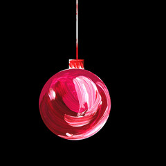 Acrylic hand painted christmas ornament on black background. Xmas bulbs set. Color hand drawn glass bubbles for christmas tree