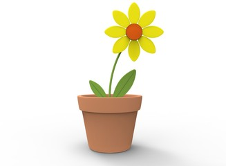 3d illustration of cartoon flower in the pot. white background isolated. icon for game web.