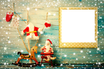 Christmas photo frame card Santa and rocking horse