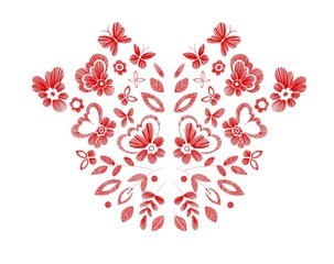 Floral design , embroidery pattern. Colorful vector illustration hand drawn. Fantasy flowers leaves and butterflies. T-shirt designs.