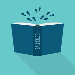 Open book icon. Concept of detective, literary fiction genre