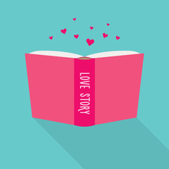 Open book icon. Concept of love story, literary fiction genre