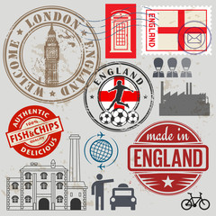 Travel stamps or symbols set, England and London theme