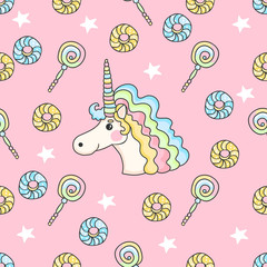 Cute seamless pattern with candy, stars, donuts and unicorn on a pink background.