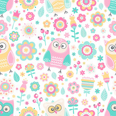 Cute flat owl. Vector seamless pattern with birds and flowers. Pastel colors - pink, yellow, green, grey and white. Cute background for kids. Flat style.