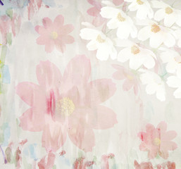 Picturesque summer floral watercolor background, made with color