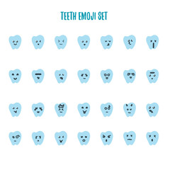 Emoji tooth set with different emotions - angry, happy, smile