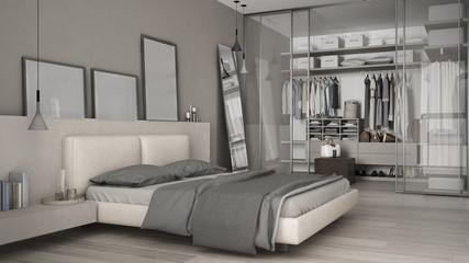 Classic minimal bedroom with walk-in closet