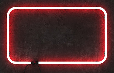 Neon rectangle frame on dark concrete background. 3D rendering