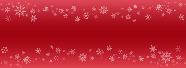 snowflakes banner on red background