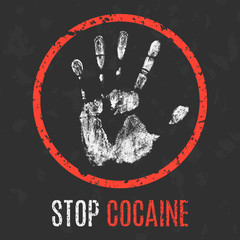 Vector illustration. Social problems of humanity. Stop cocaine.
