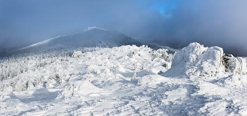 Winter mountain panoramic landscape.