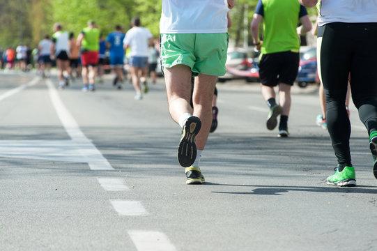 Marathon, street runners  in spring day