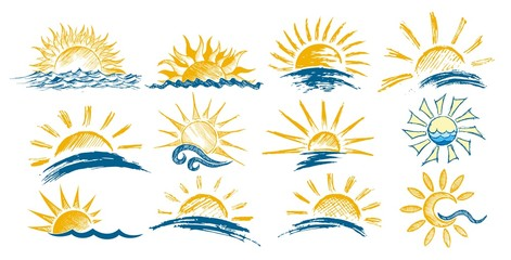 Logos dawn sun in the sea.