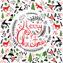 Vector illustration of a Christmas wreath. Stylized round spruce branches. Lettering. Caption. Doodle. Background with Typography. Greeting card. Pattern.
