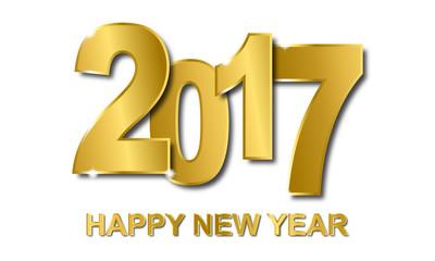 Happy New Year 2017 - Goldene Schrift (in Weiß)