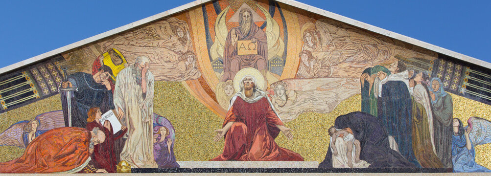 JERUSALEM, ISRAEL - MARCH 3, 2015: The mosaic on the portal of The Church of All Nations (Basilica of the Agony) by Professor Giulio Bargellini (1922 - 1924).