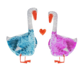 2 Goose in blue and pink suit with heart. Hand drawing illustration