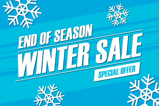 Winter sale. End of season special offer banner. Vector illustration.
