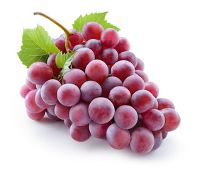 Ripe red grape. Pink bunch with leaves isolated on white. With c