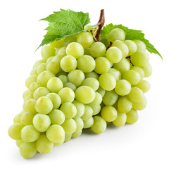 Fototapete - Green grape with leaf isolated on white. With clipping path.