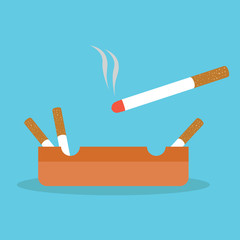 Illustration vector cigarette on the ashtray flat style.