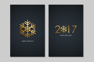 Merry Christmas and 2017 Happy New Year greeting cards with golden colored elements and black background. Vector illustration.