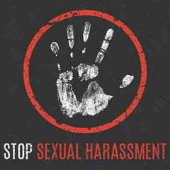 Vector. Social problems of humanity. Stop sexual harassment.
