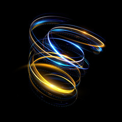 Glow swirl light effect. Circular lens flare. Abstract rotational lines. Power energy element. Luminous sci-fi. Shining neon lights cosmic abstract frame. Magic round frame. Swirl trail effect
