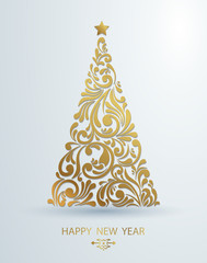 Stylized golden Christmas tree decoration made from swirl shapes. New Year design template. Vector